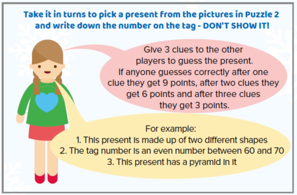 Comic strip picture of a pupil explaining the rules of the 'guess the present' game.