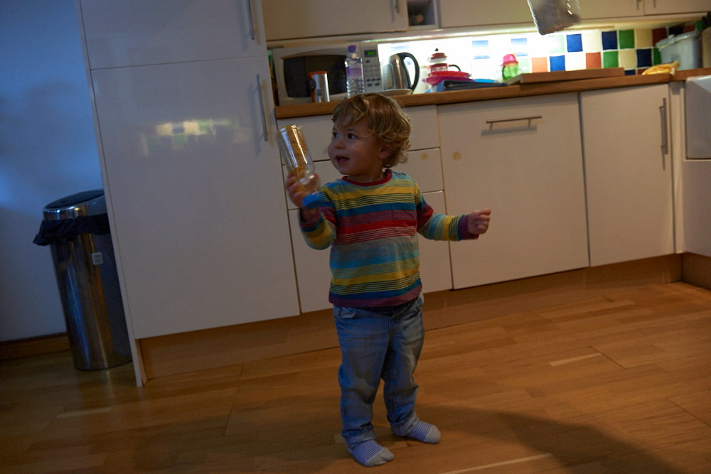 photo of toddler in kitchen