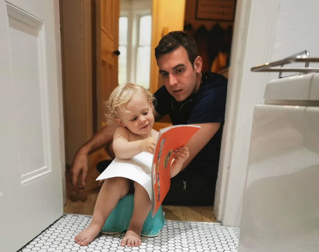 Reading while toilet training