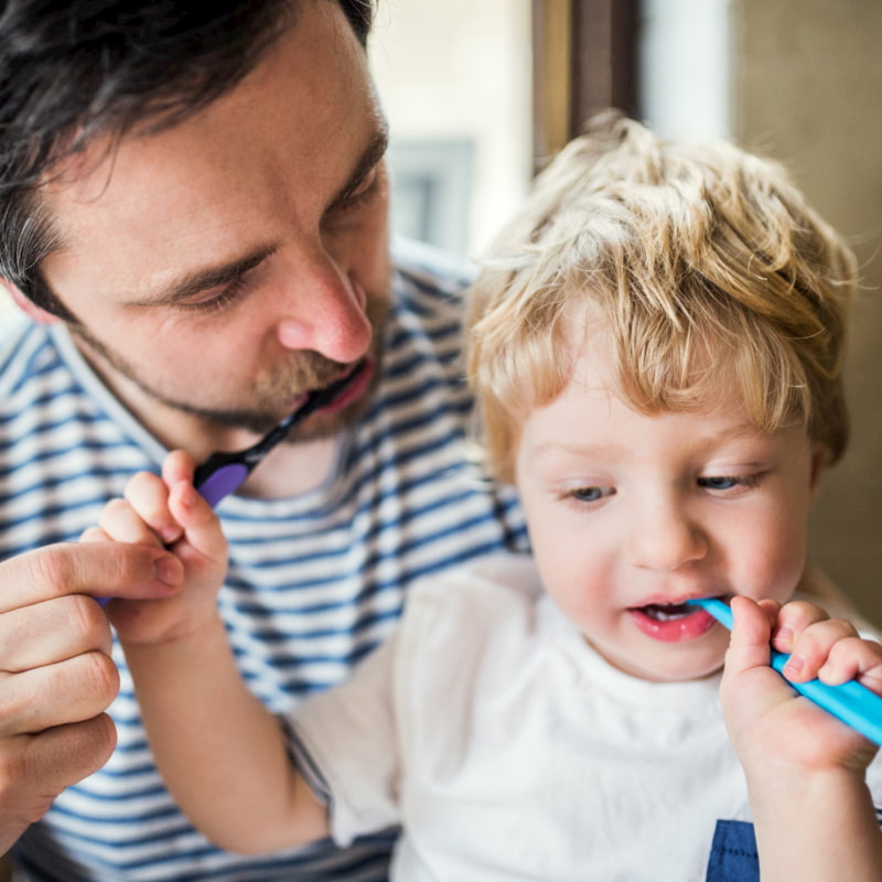 Brushing teeth with your toddler