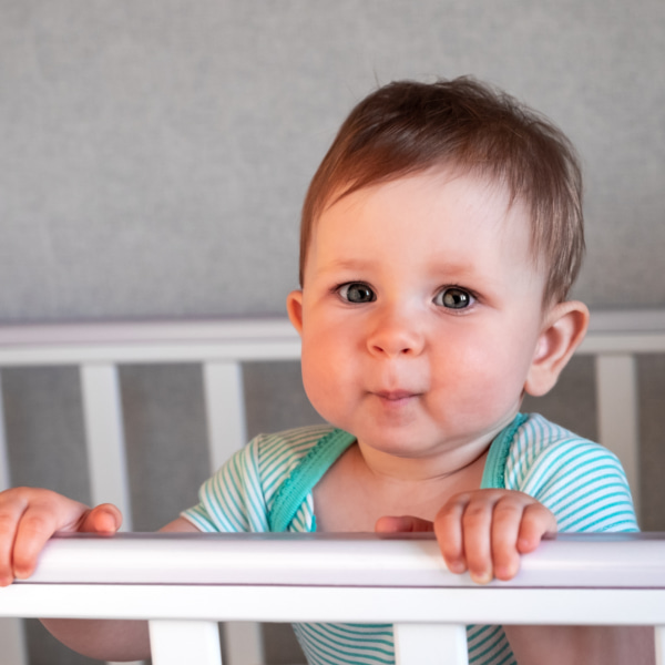 Photo of a baby in a cot