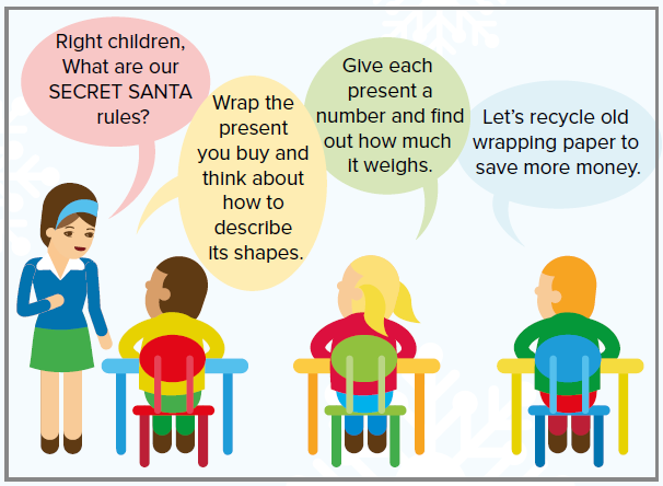 Image of a teacher and three children in a classroom, with speech bubbles about Secret Santa.