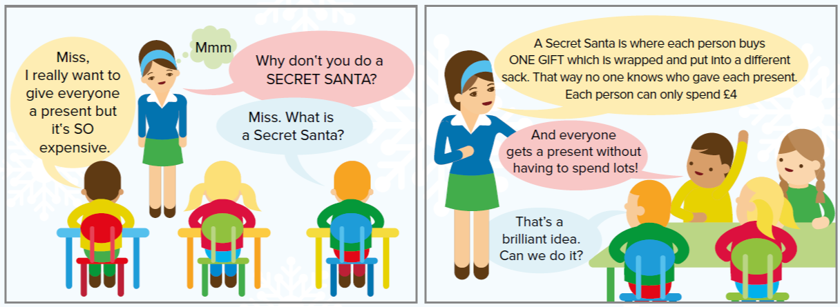 Comic strip: Miss Eltow's class discuss holding a Secret Sants